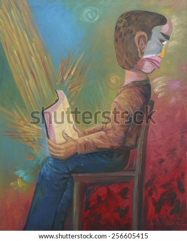 original oil painting  that show a man who has no real heart for the word of God - stock photo