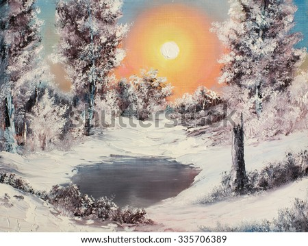 "Original oil painting ""Winter morning"", realistic style. Fantasy sunrise over frozen lake in a dreamy, cold and snowy forest. - stock photo"