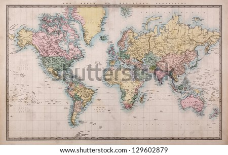 Map stock images royalty free images vectors shutterstock original old hand coloured map of the world on mercators projection circa 1860the countries gumiabroncs Images