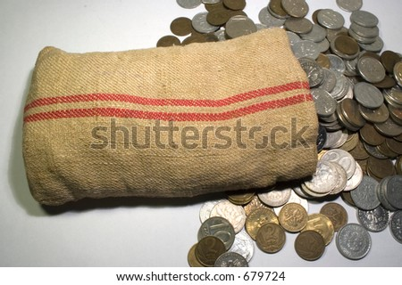 Original old money bag with coin - stock photo