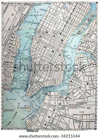 Original old street map of New York City, dated 1889. - stock photo