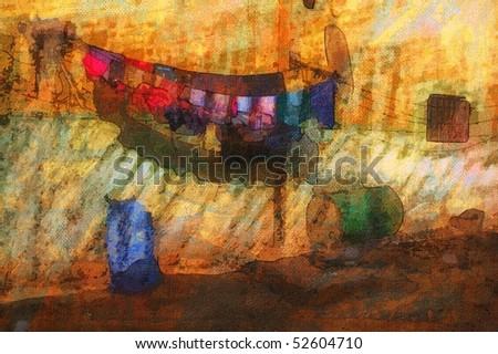 original painting back house street scene eygpt - stock photo