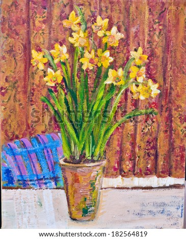 Original painting, illustration of a pot of Spring daffodils. The daffodils are on a table with patterned orange and brown curtains in the background and the top of a chair. - stock photo