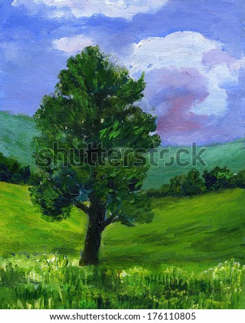 Original painting of an Ash tree in a green field. The setting is a traditional English landscape with fields and hills in the background and blue sky with clouds. - stock photo