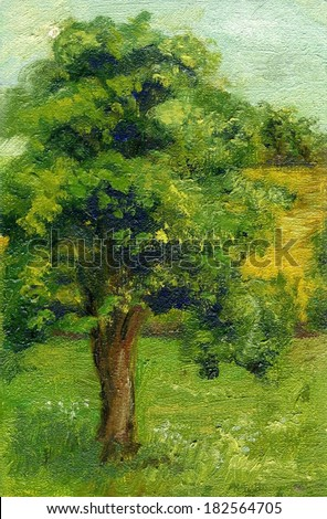 Original painting of an Oak tree standing in an English landscape in Summer. The oak tree is in full leaf standing in a green field with a field of yellow in the background with hedgerows. - stock photo
