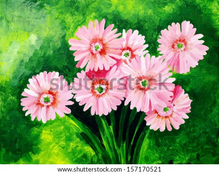 Original painting of beautiful pink gerbera daisy  - stock photo