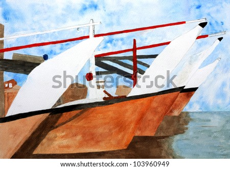 Original painting of Traditional Dhows in a harbour at Bahrain, a child art