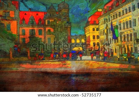 original painting of Zwinger Museum  cathedral and castle in Dresden - stock photo