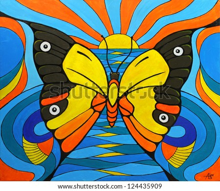 Original Painting on Canvas. Illusion of a Butterfly Fish and Bird. - stock photo