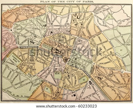 Original Paris city map, colored, dated 1889. - stock photo