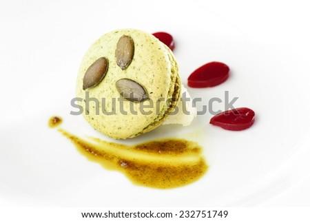 Original Paris Macaroon with pistachio in a fine dining restaurant - stock photo