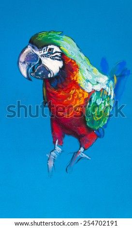 Original pastel painting on cardboard.Beautiful parrot on a blue background. - stock photo