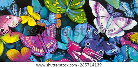 Original pastel painting on cardboard.Many colorful butterflies in the forest.Modern beautiful art. - stock photo