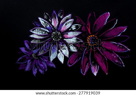Original pastel painting on cardboard.Modern art.Beautiful colorful flower on black background.Painted by Velin Iliev. - stock photo