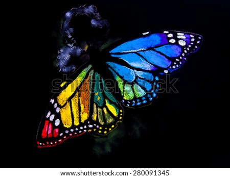 Original pastel painting on cardboard.Modern art.Colorful butterfly on a black background. - stock photo