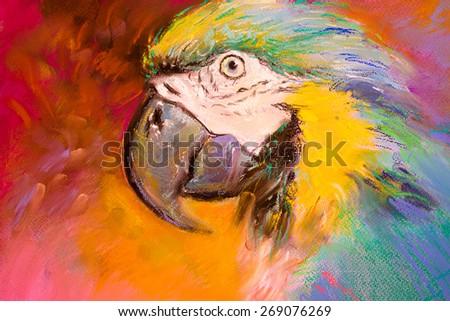 Original pastel painting on cardboard. Parrot. - stock photo