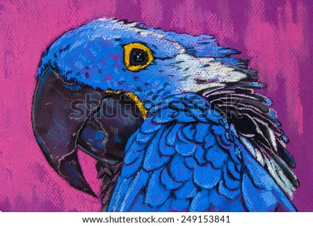 Original pastel painting on paper.Beautiful blue parrot. - stock photo