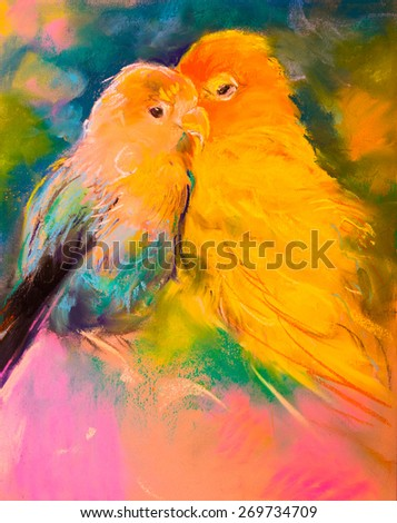 Original pastel painting on paper. Beautiful parrot pair. Modern art - stock photo