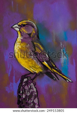 Original pastel painting on paper.Parrot on wood. - stock photo