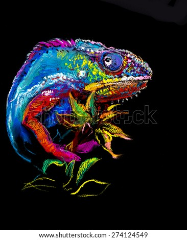 Original pastel panting on paper. Colorful chameleon with plant plant on black background - stock photo