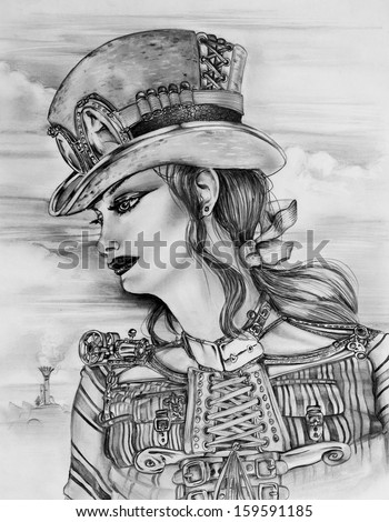 Original pencil sketch drawn by myself of a Steampunk woman in a customized top hat. - stock photo