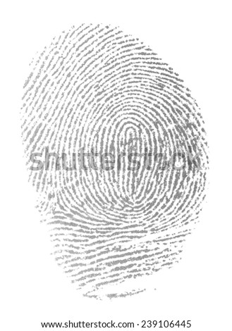 original photo fingerprint isolation on white background,  with clipping path - stock photo