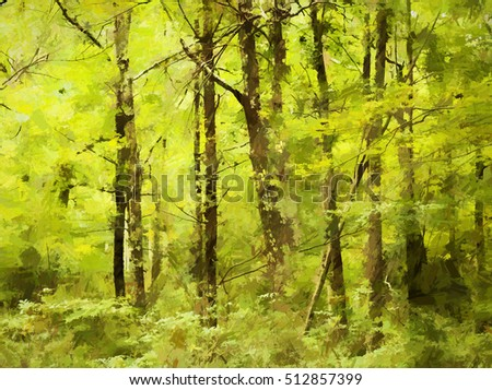 Original photograph of the Poconos woods in Summer transformed into a vibrant green abstract painting