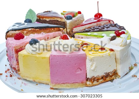 Original pieces of cake  isolated on white background. The quality of medium format