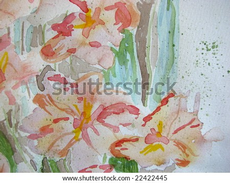 Original Pink Watercolor Floral - stock photo