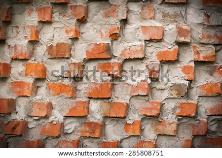 original red brick wall, abstract background template - stock photo