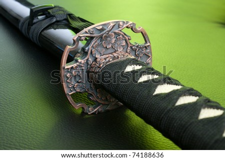 Original samurai katana grip close-up - japanese sword - stock photo