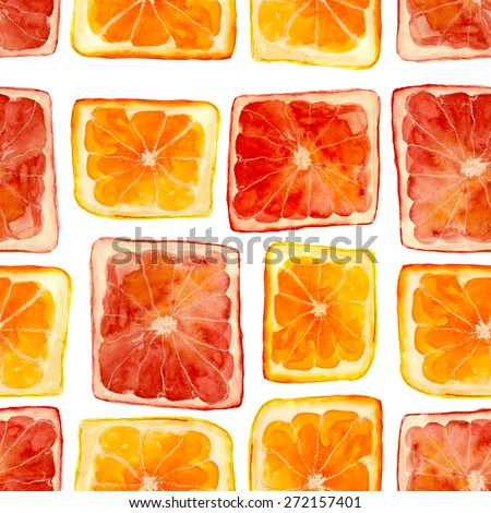 original squared oranges and grapefruits, for seamless pattern, hand-drawn watercolor - stock photo