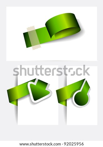 Original Style Green Eco Paper Tags with delicate shadows. Ready to copy and paaste on every surface. - stock photo