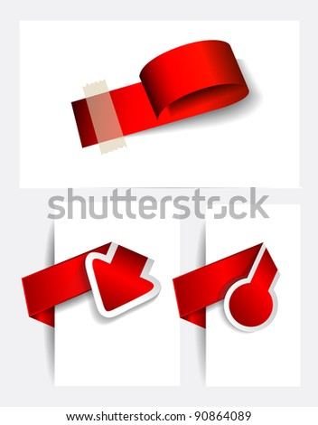 Original Style Paper Tags with TRANSPARENT shadows. Ready to copy and paste on every surface. - stock photo