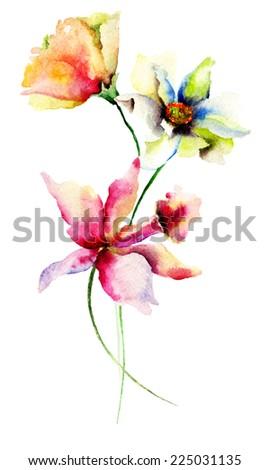 Original Summer flowers, watercolor illustration  - stock photo