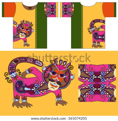 original t-shirt design with unique decorative fantasy animal in ukrainian karakoko style for printing, fashion raster version illustration