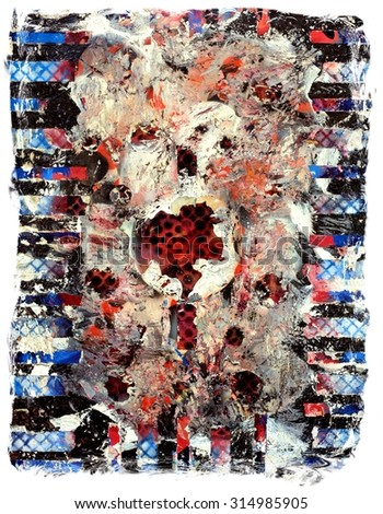 Original Textured Abstract Chaos Painting - stock photo