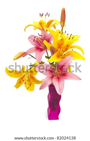 Original vase with lily flowers isolated on white background - stock photo