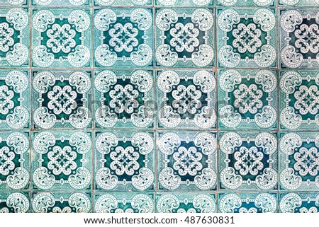 original very old green azulejos with floral paintings - hand made tiles from Lisbon, Portugal