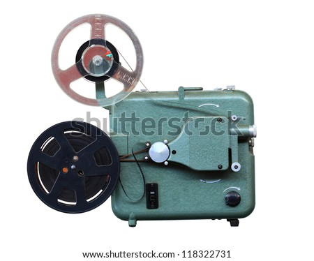 Original vintage eight millimeters celluloid movie film projector from past decades cutout isolated on solid background with working path included. - stock photo