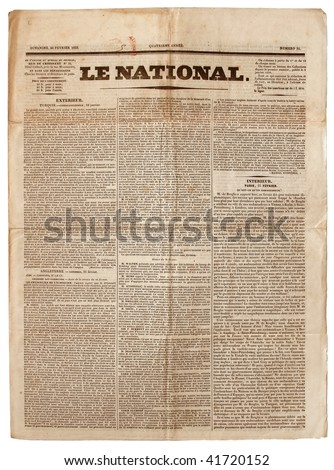 Original vintage French newspaper, dated 1833. - stock photo