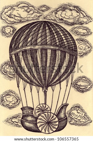 Original vintage hand drawn balloon with clouds - stock photo