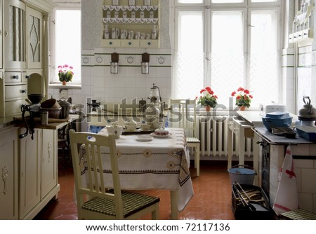 Original vintage kitchen of middle class from beginning of 20th century in Silesia - industrial, mining region of Poland