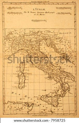 Original vintage map of Italy printed in 1780.