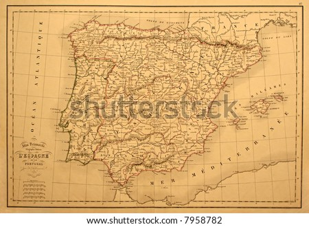 Original vintage map of Spain and Portugal printed in 1850. - stock photo