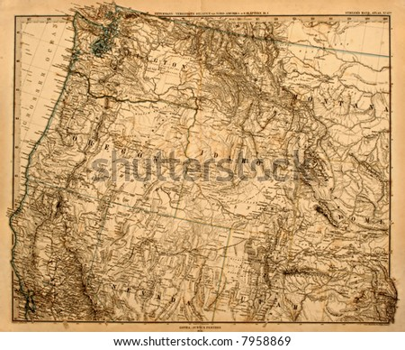 Original vintage map of the US Pacific Northwest printed in 1875. - stock photo
