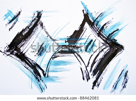 Original watercolor background with blue and black strokes - stock photo