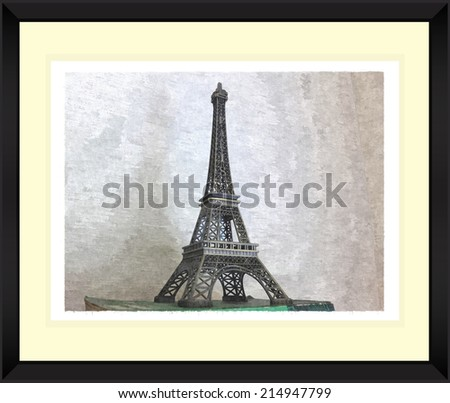 Original watercolor painting of great building tower with black frame,art illustration - stock photo