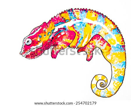 Original watercolor painting on cardboard.Beautiful chameleon on a white background. - stock photo