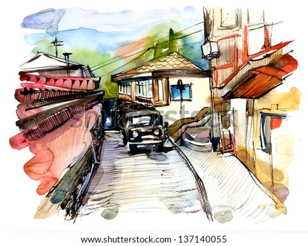 original watercolor painting on paper of old street of Gurzuf, Crimea, Ukraine, plein air painting - stock photo